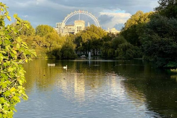 View of the beautiful lake outside the London Marriott
