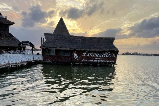 View of Lorenzillos on the water during sunset in Cancun