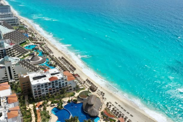 Beautiful view of the beaches of Cancun from the JW Marriott resort