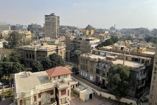Amazing view of city from upper floor of hotel in Cairo, Egypt