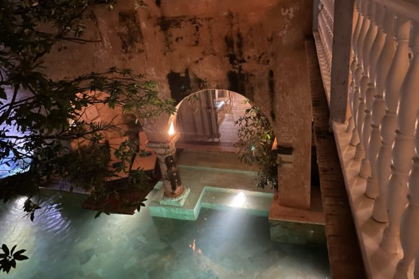 View of the Casa Pombo hotel pool in Cartagena, Columbia