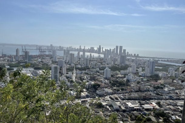 Beautiful view of the city of Cartagena from a religious site above the city