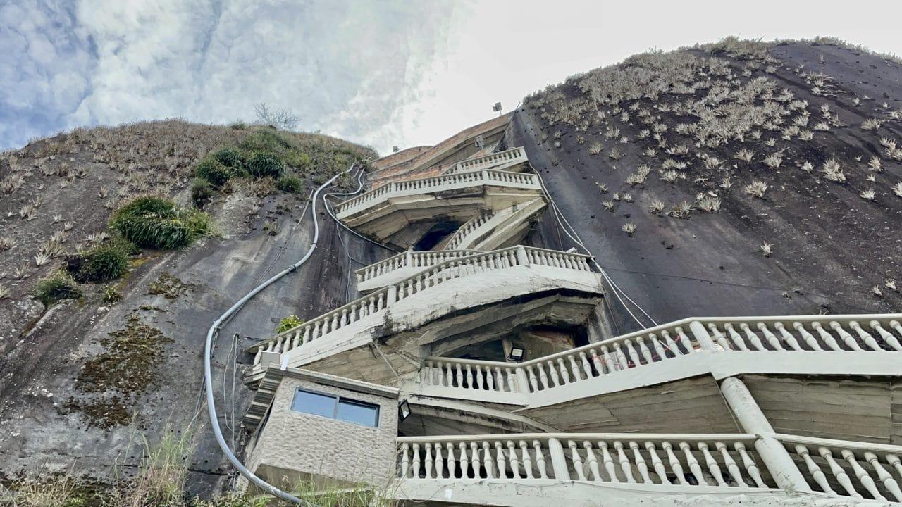 winding stairway of El Penol Rock