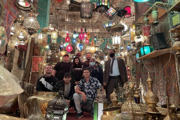 Our group in front of the famous shopping district Khan El-Khalili in Cairo, Egypt