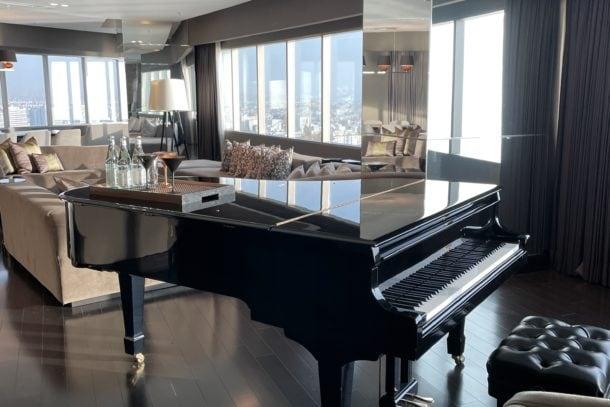 Baby grand piano in the hotel room in Peru