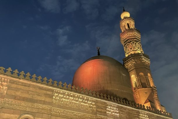 View of a beautiful mosque in Cairo from our table at Saheb El Saada