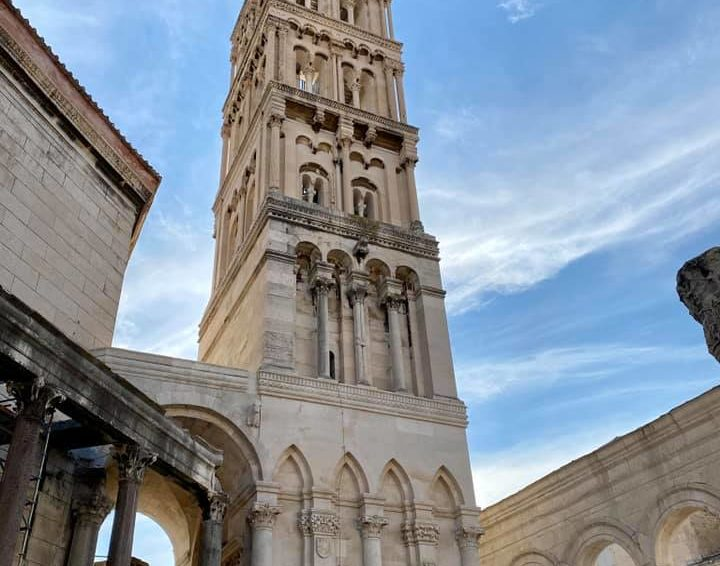 The bell tower in Diocletian's palace, one of the oldest living palaces in the world