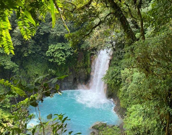 Beautiful blue waterfall in the Tenorio Volcano National Park