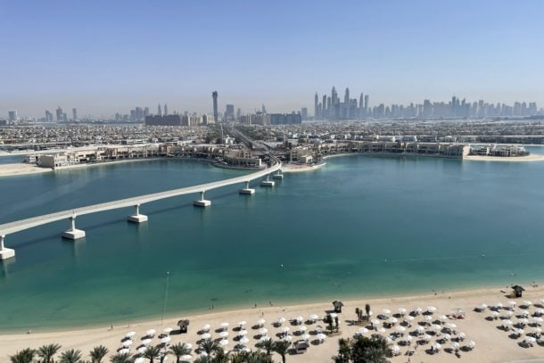 Views of the Dubai Skyline and Arabian Gulf from our balcony at the Atlantis Resort