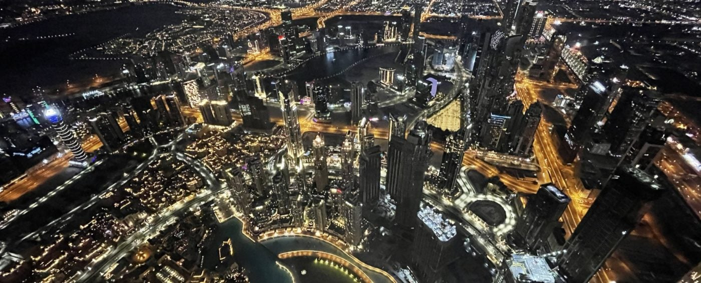 Stunning view of the city of Dubai from the tallest skyscraper in the world