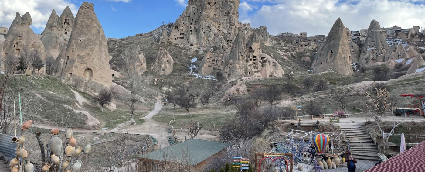 Beautiful view of the rock structures in Cappadocia