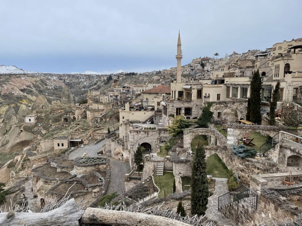 Beautiful view of Cappadocia and the caves and tunnels it's built into.