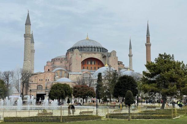 View of the beautiful Hagia Sophia in Istanbul Turkey