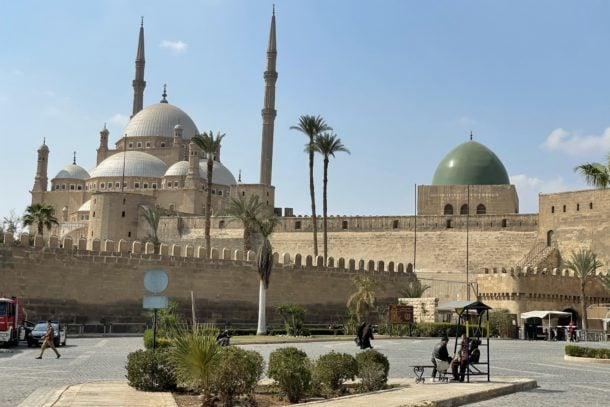 The outsdie view of The Great Mosque of Muhammad Ali
