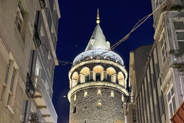 Amazing views of the Galata Tower at night