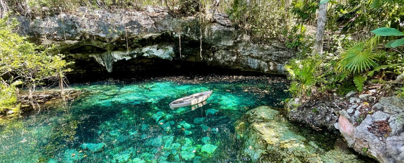 The crystal-clear, turquoise waters in Kantun Chi eco-adventure park in Mexico
