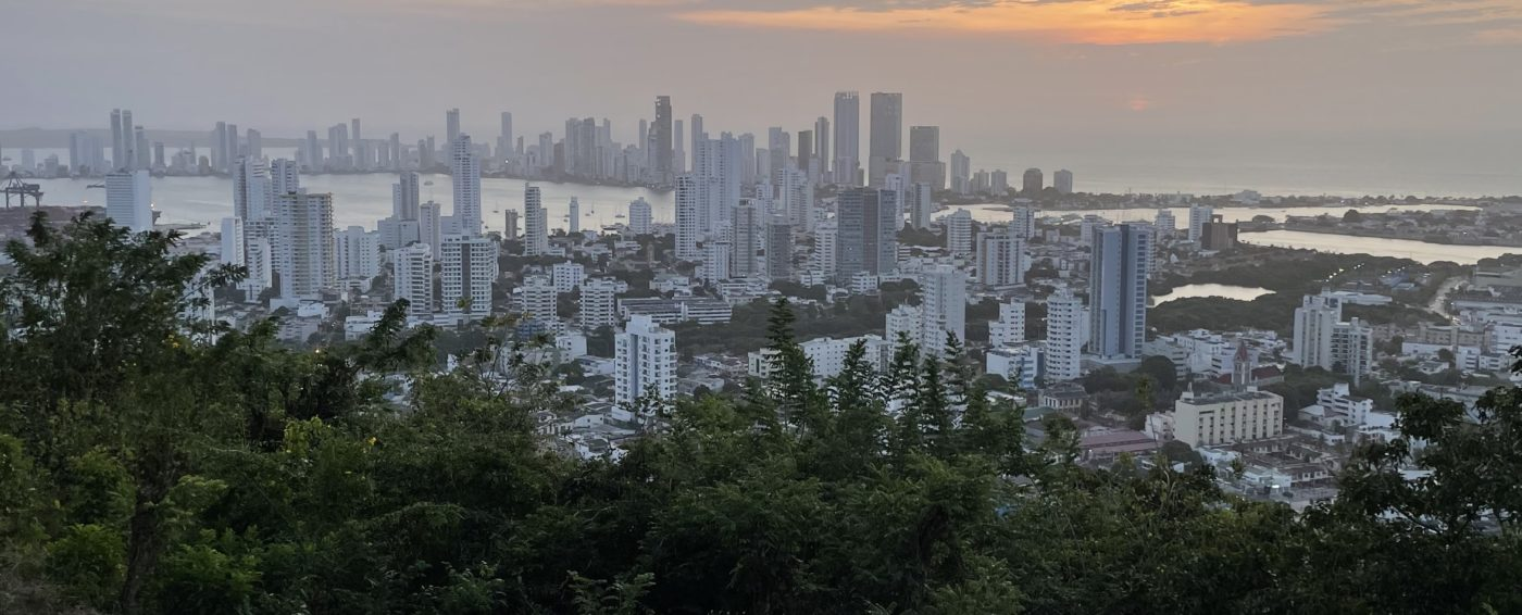 Beautiful view of the city of Cartagena at sunset