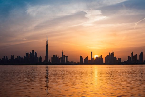 The buildings in Dubai at sunset