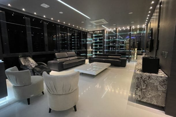View of the luxurious living area in a suite at Europa in Medellin, Colombia
